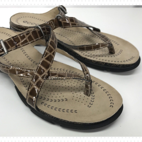 3814ebff451c Ecco Shoes - ECCO LIVING Strappy Toe Post Sandals Brown Leather